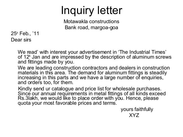inquiry letter for job - Josemulinohouse - an inquiry letter