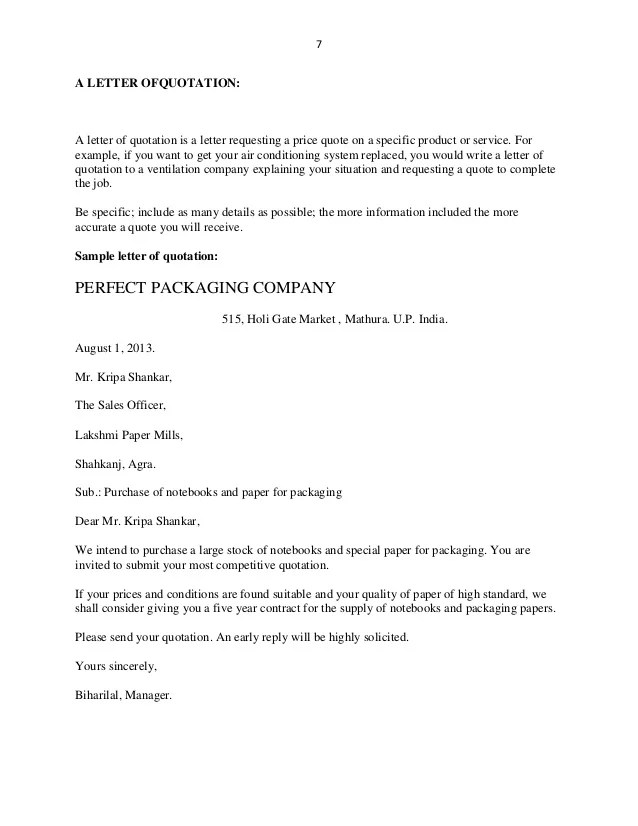 Business Letter Quotation – Business Quotation Sample