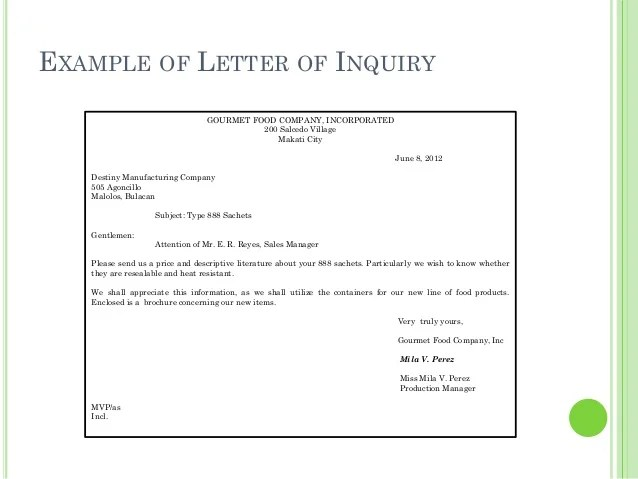 Example Of Letter Of Inquiry With Reply – Letter of Inquiry Samples