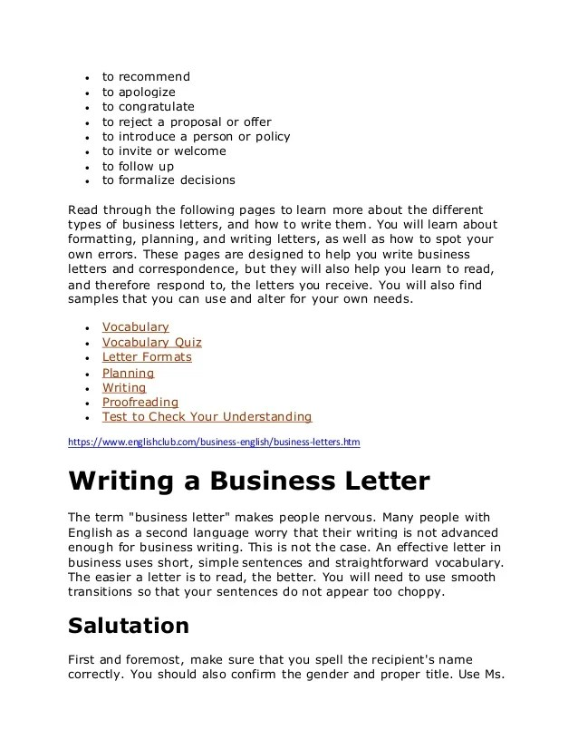 simple business letters - Selol-ink