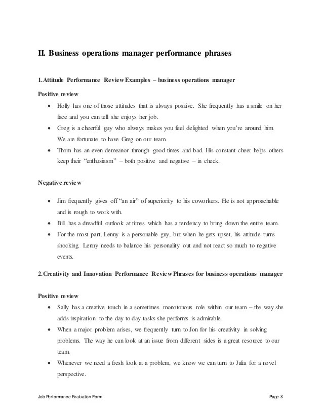 Simple Employee Performance Appraisal Form Business Operations Manager Performance Appraisal