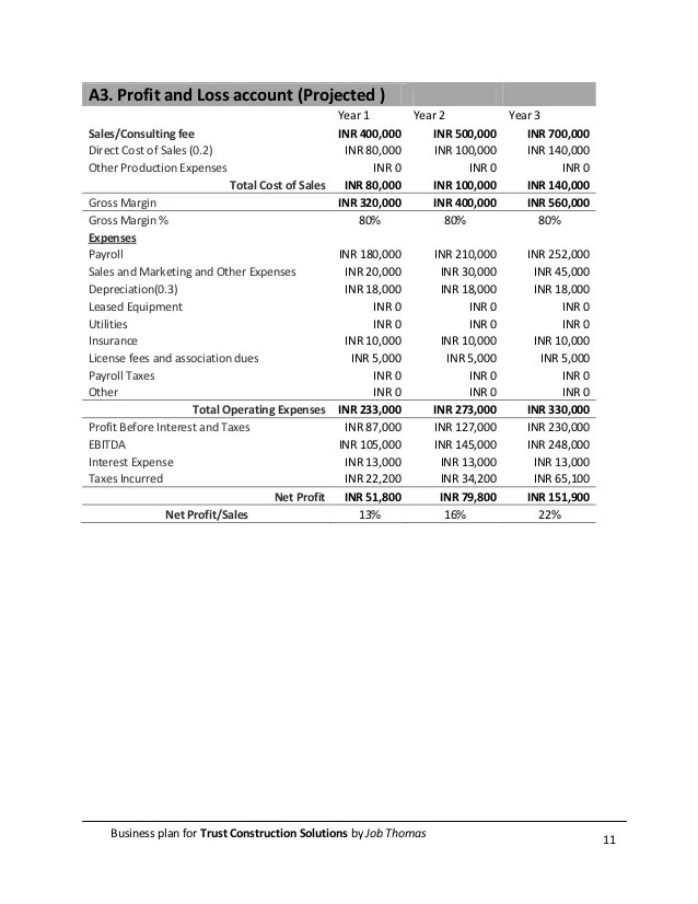 profit and loss statement for construction company - Onwebioinnovate
