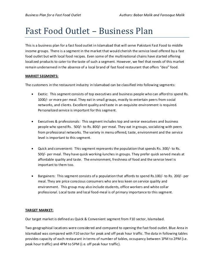 Fast Food Restaurant Business Plan Sample Market Business Plan Of Fast Food Restaurant