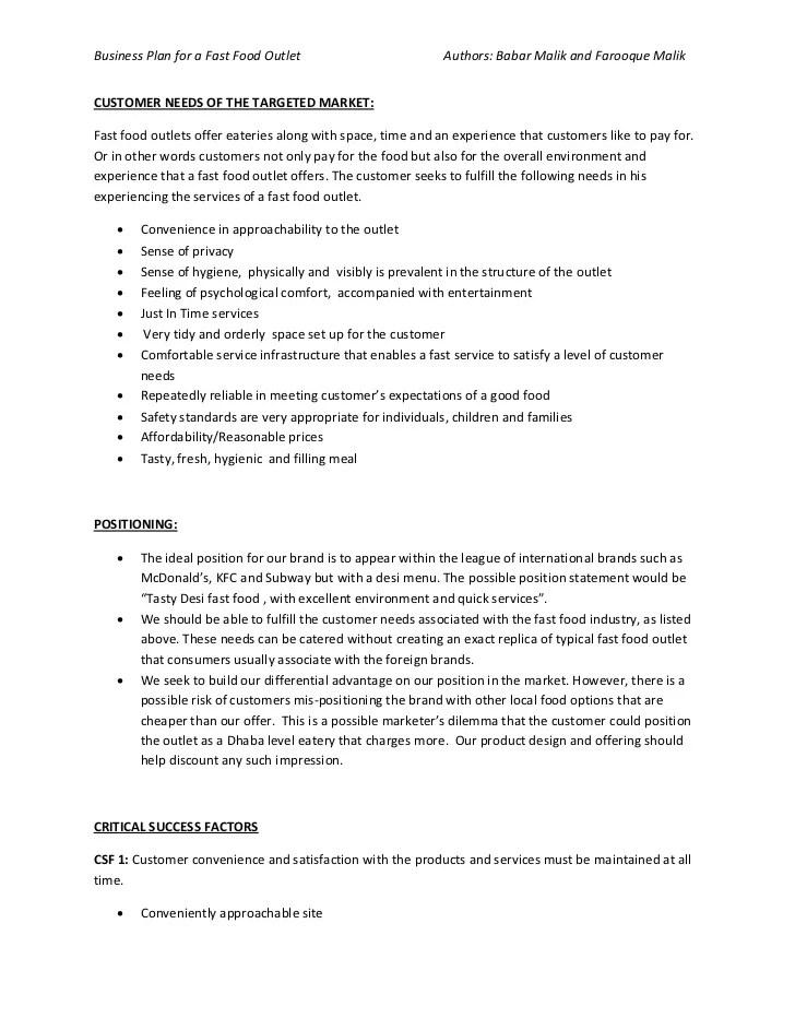 Fast Food Restaurant Business Plan Sample Product Business Plan Of Fast Food Restaurant