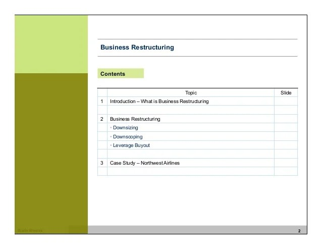 Business Restructuring Strategy