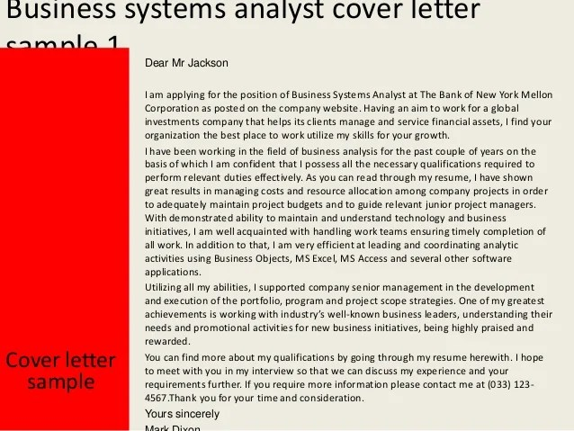 Cover Letter Sample Business Systems Analyst | Job ...