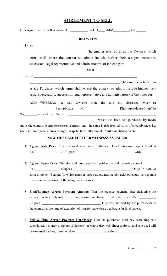 sale agreement format for flat - Maggilocustdesign - agreement format