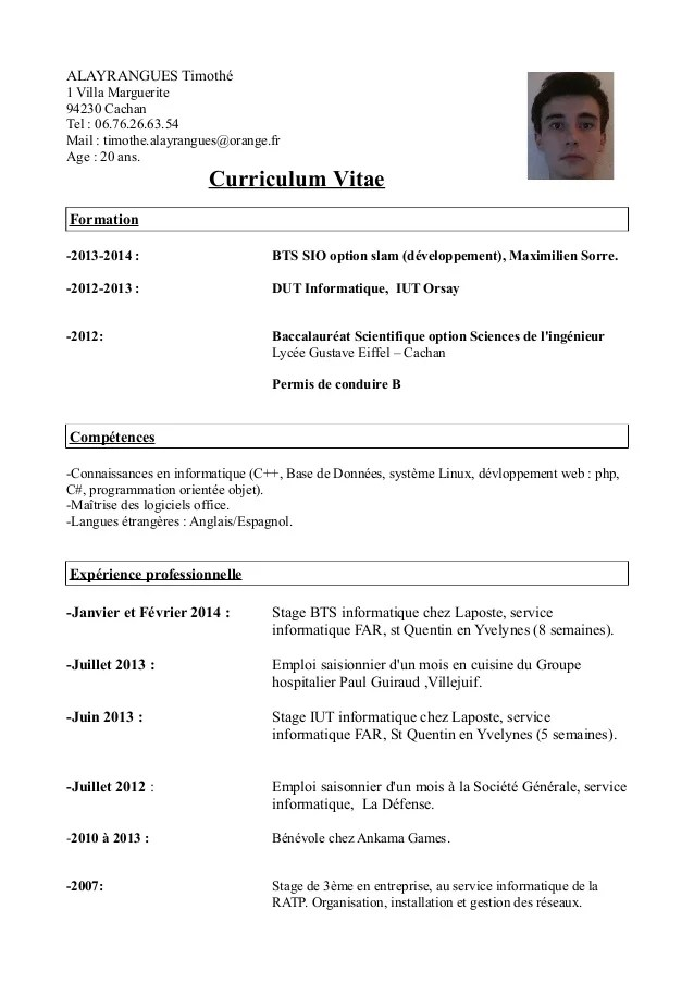 cv pour un stage machine learning
