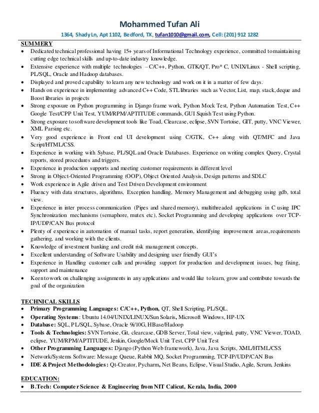 sample resume with python n net