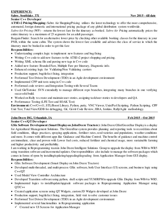 delphi developer resume sample