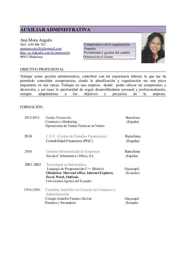 Ejemplos De Curriculum Vitae De Administrativa | Cv Resume Biodata ...
