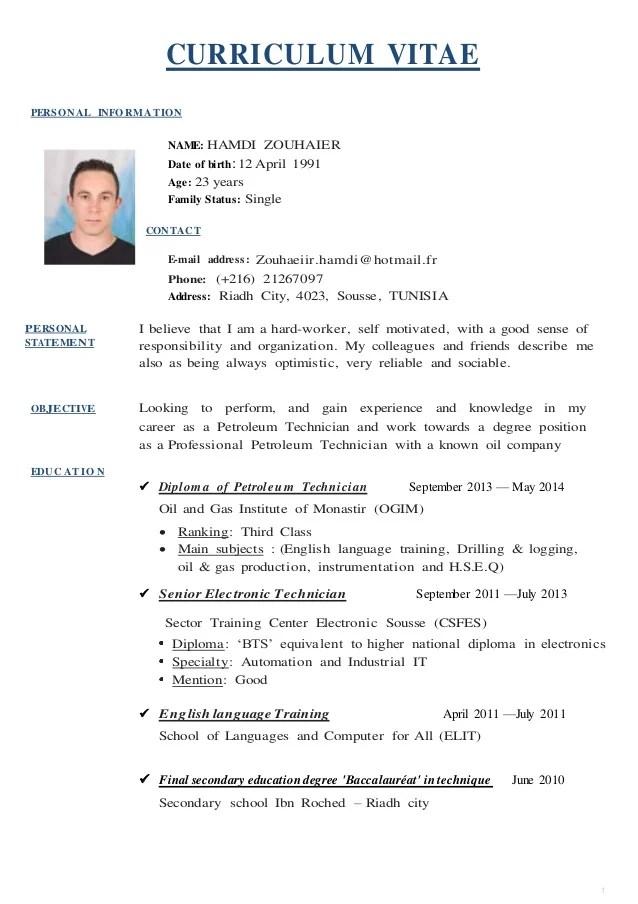 Resume template english