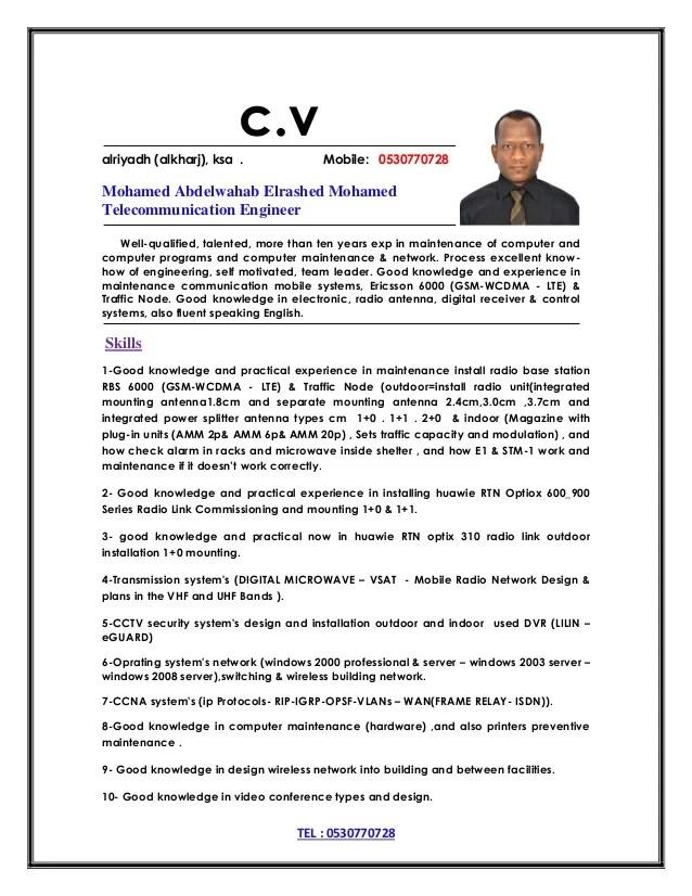 telecom engineer cv - Doritmercatodos