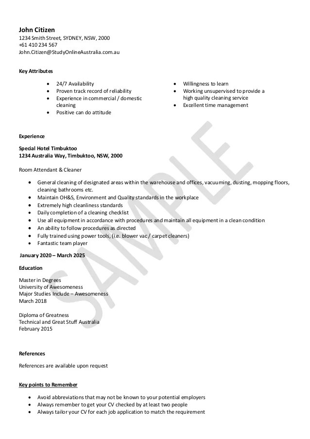 sample resume cleaner - Canasbergdorfbib