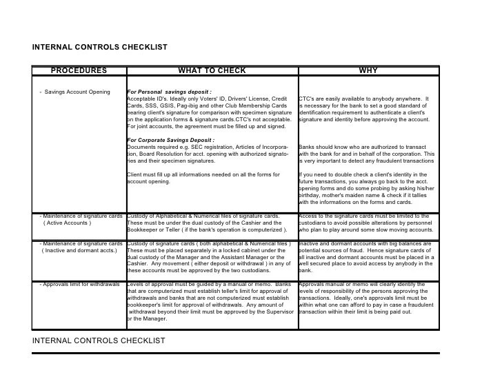 Hotel C2 C2 Internal Controls Checklist
