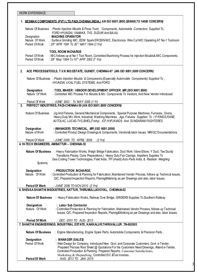 resume application bajaj