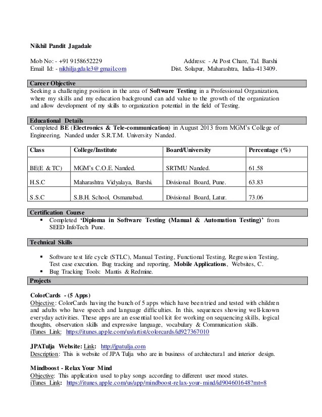 objective for software testing resume - Onwebioinnovate