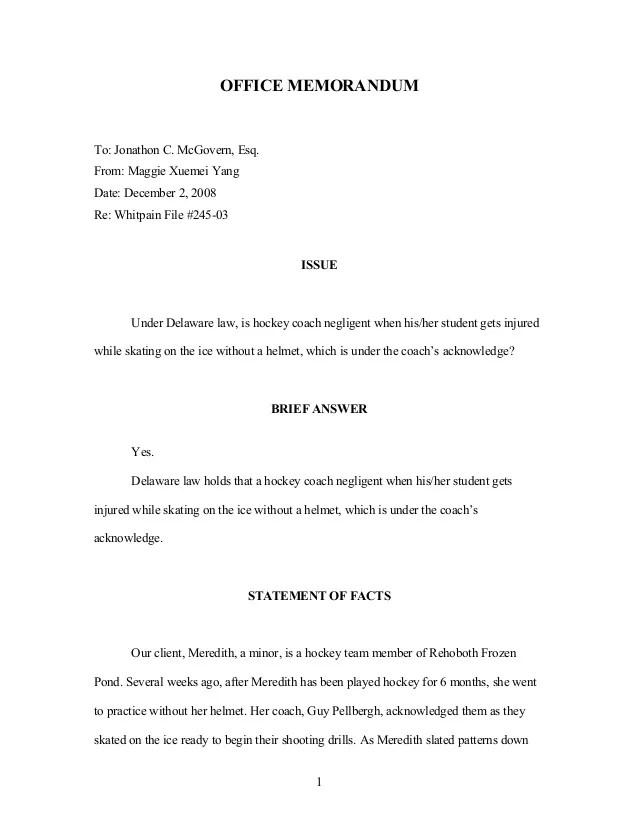 sample of office memorandum - Leonescapers