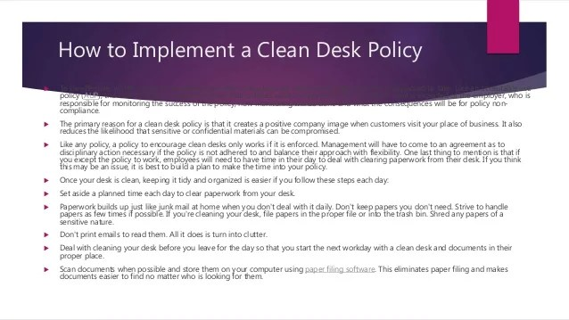 Sample Templates Clean Desk Policy