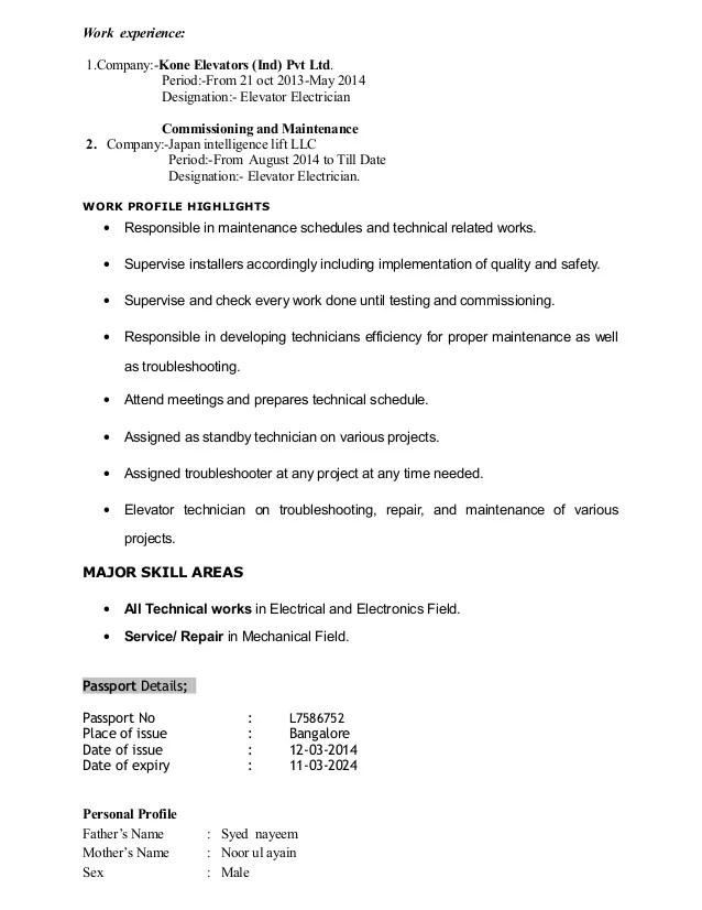 Elevator Mechanic Sample Resume Elevator Mechanic Sample Resume - elevator operator sample resume