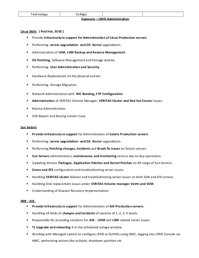 unix resume job - Boatjeremyeaton - unix engineer resume