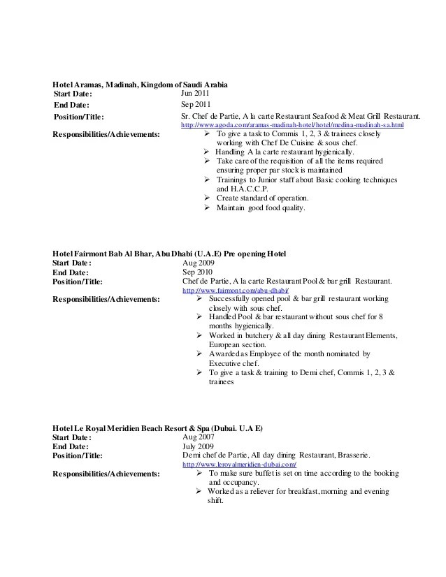 pdf example of chef de partie cv