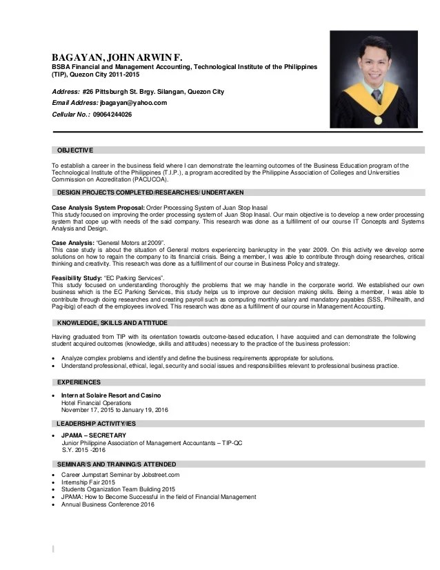 example cia resume