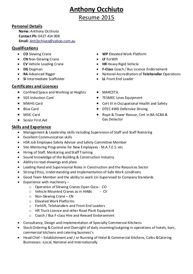 Fantastic Crane Operator Resume Download Mold - Example Resume and