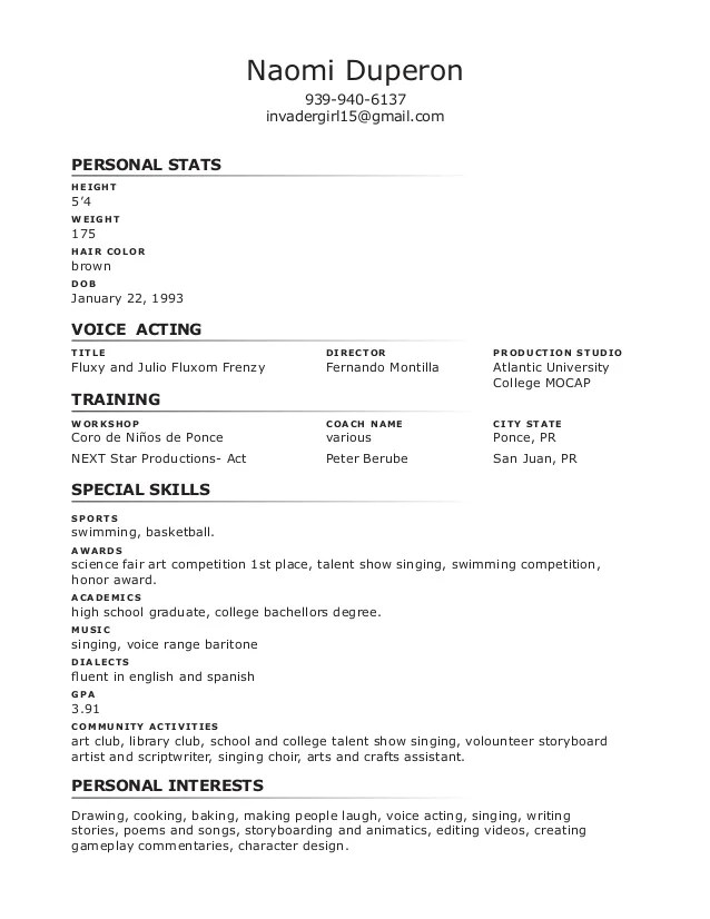 special skills and interests for resume radiovkm