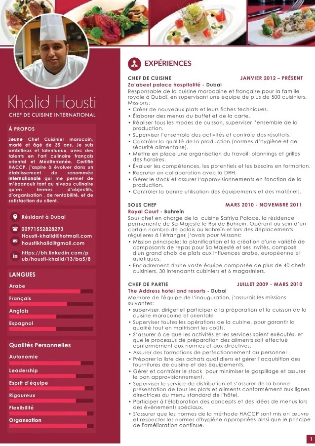cv chef de partie english