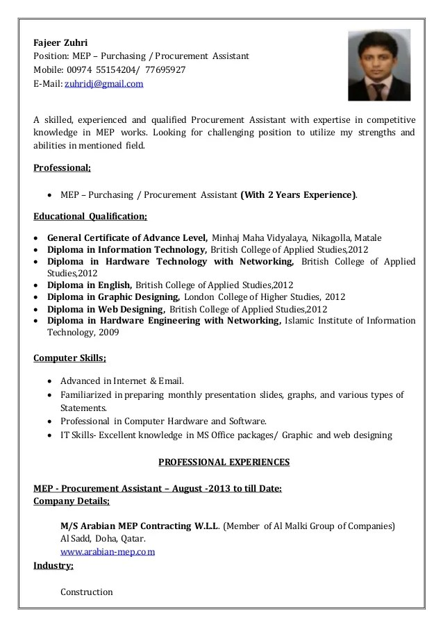 Cover Letter Cv Procurement Professional Resumes Example Online