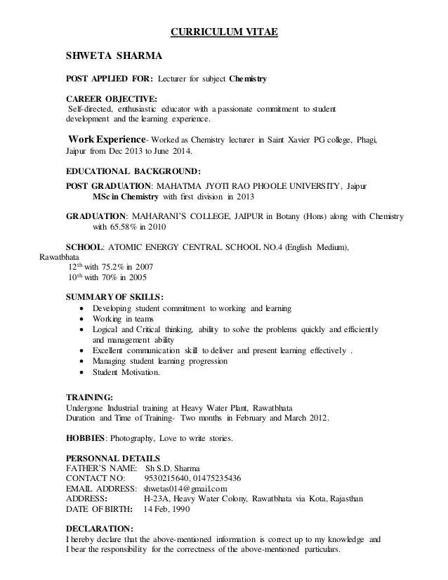 It Lecturer Resume Lecturer Resume Samples Sample Resume For - lecturer resume objective