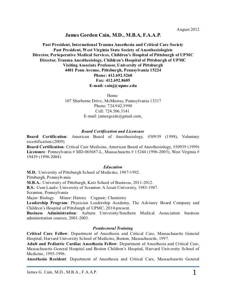 anesthesiologist resume - Goalgoodwinmetals