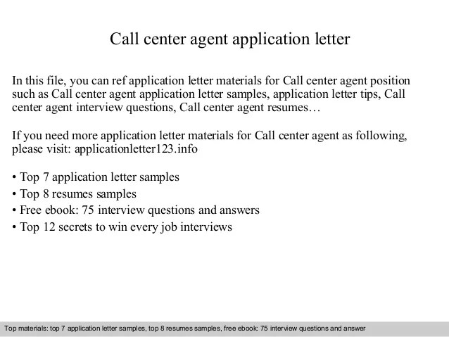 Sample Resignation Letter Monster Call Center Agent Application Letter