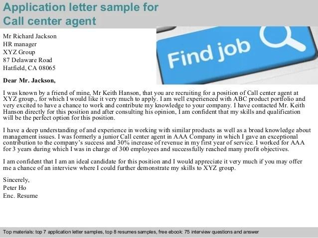 Jobstar Resume Guide Sample Resumes Cover Letter Call Center Agent Application Letter