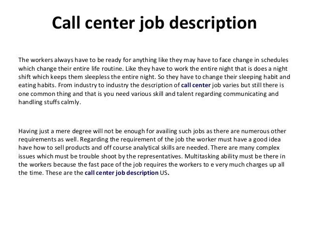 call center job descriptions