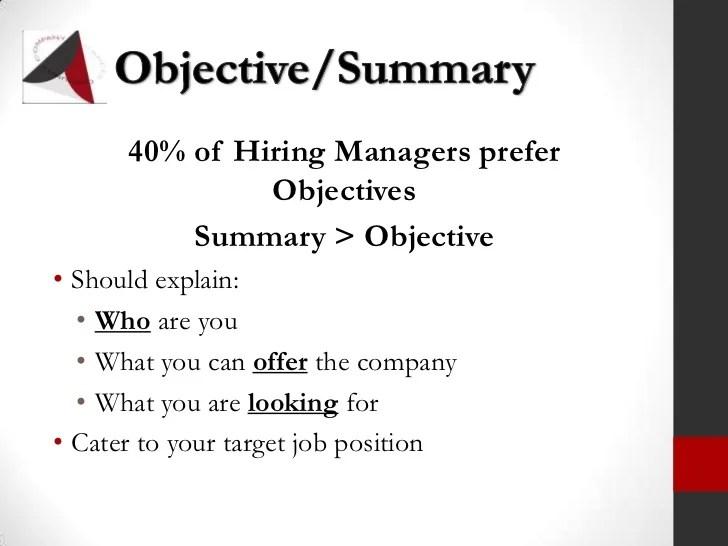 resume objective and summary