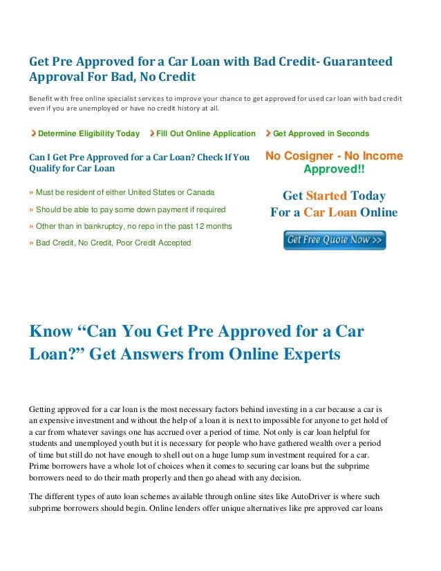 Can I Get Pre Approved For A Car Loan