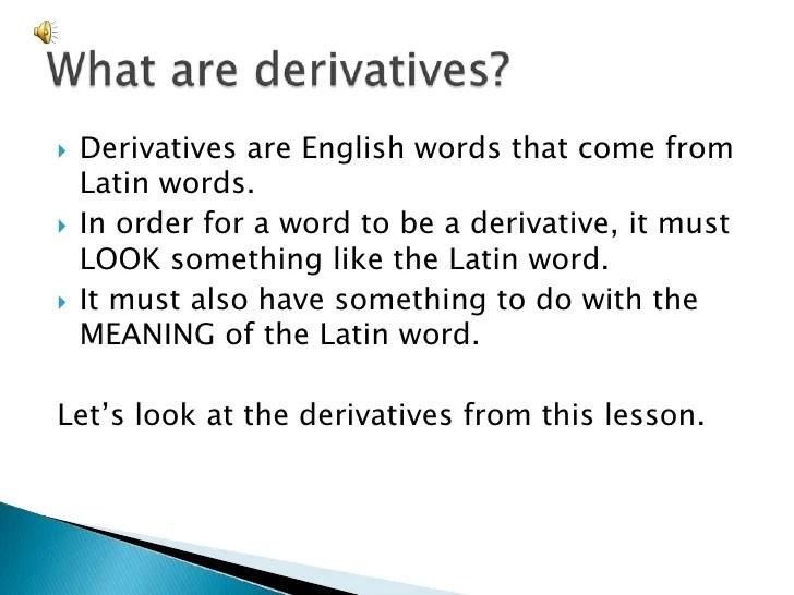 Capitulum Primum Derivatives