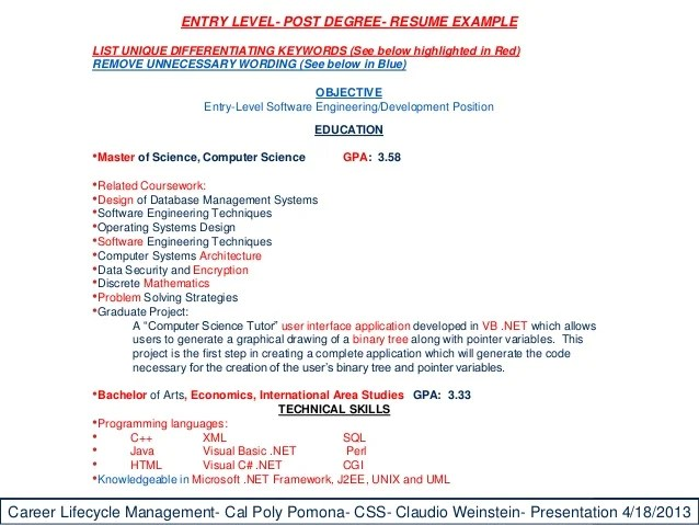 example resume cal poly