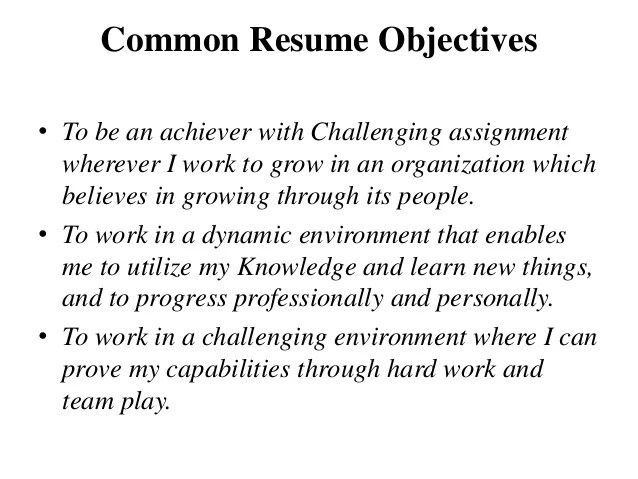 common resume objectives - Maggilocustdesign