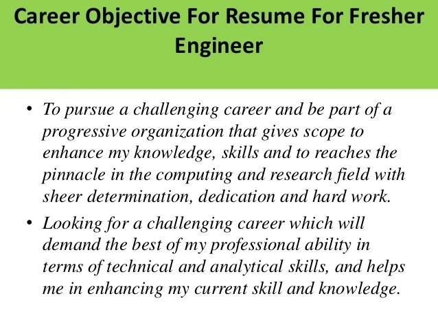 resume objective for freshers - Pinarkubkireklamowe
