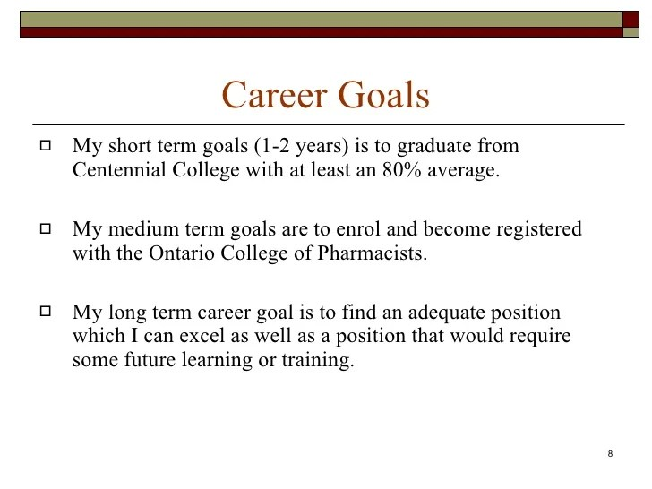 what are some short term professional goals