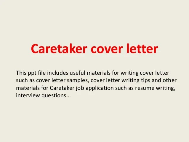 Cover Letter Sample Careerchoiceguide Caretaker Cover Letter