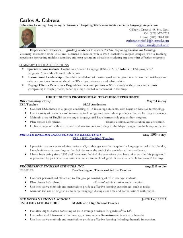 resume template enlish tutor