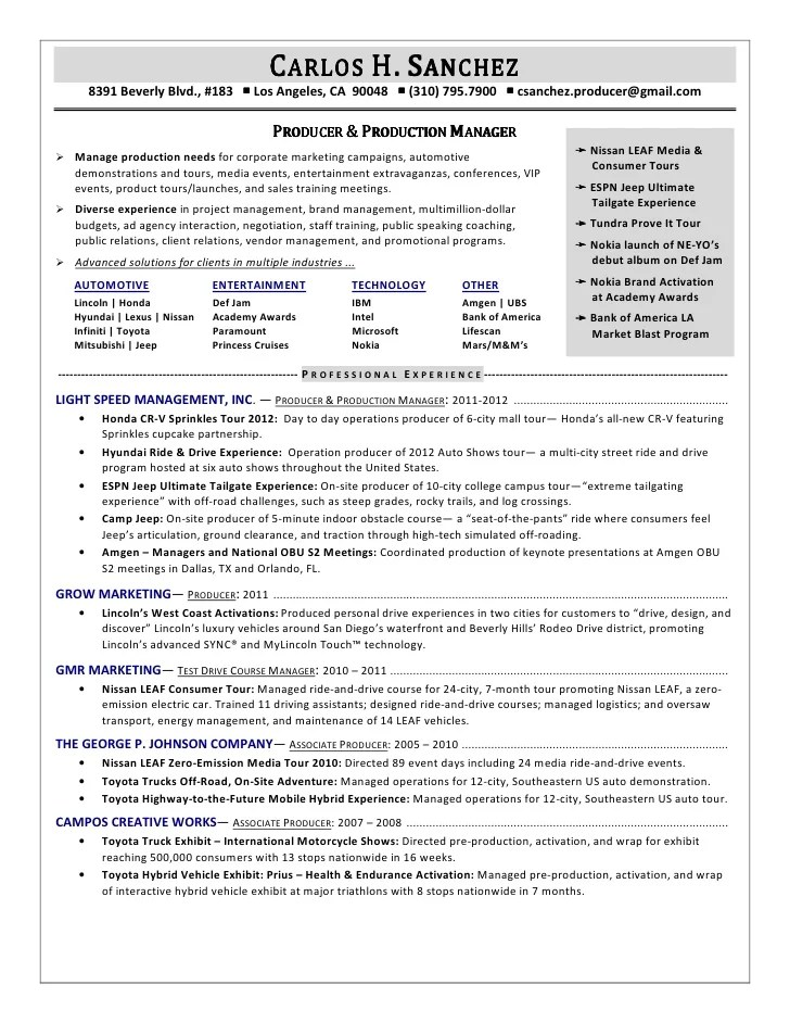 sample resume for film producer