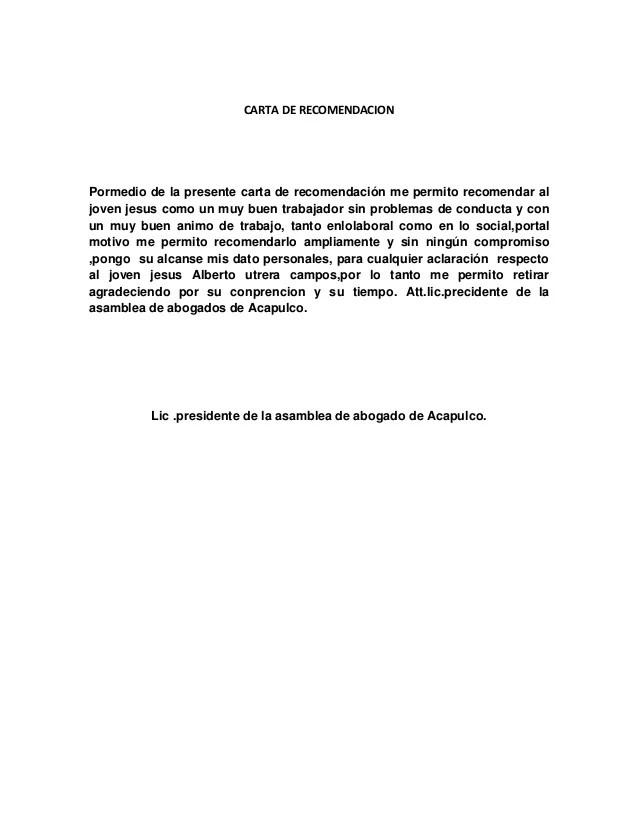Carta De Recomendacion Personal Ejemplos Pdf ℂ𝕒𝕣𝕥𝕒 𝕕𝕖
