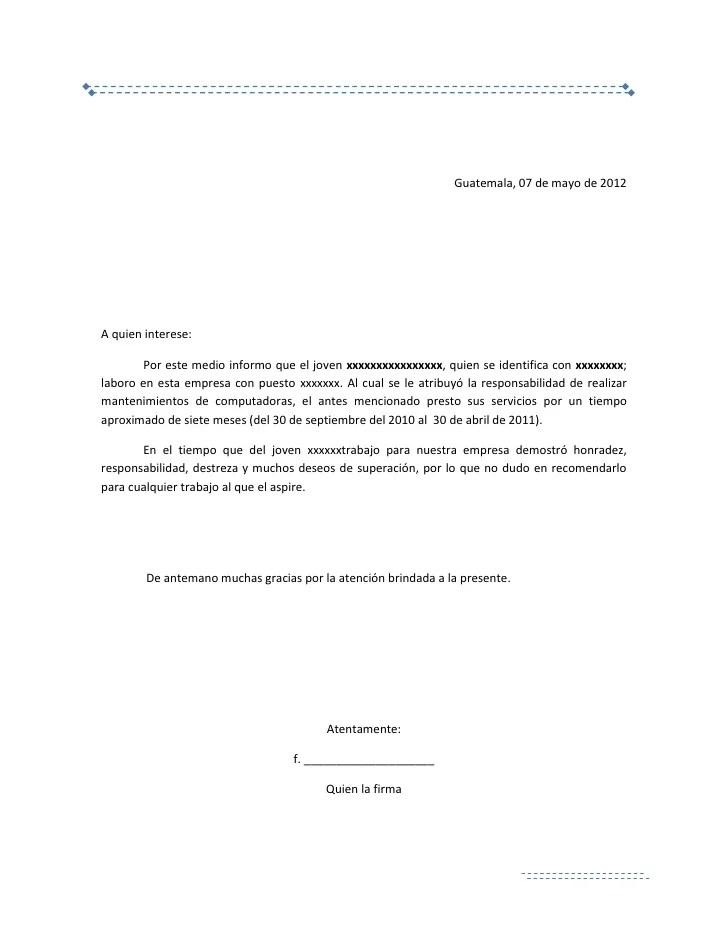 carta de recomendacion laboral - Towerssconstruction