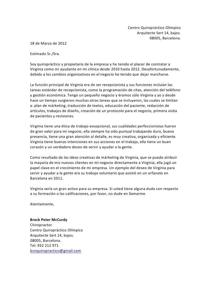 ejemplos de cartas de recomendacion laboral - Romeolandinez