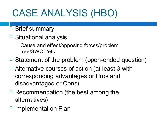 How To Write A Case Study Analysis For Business School Case Analysis Format